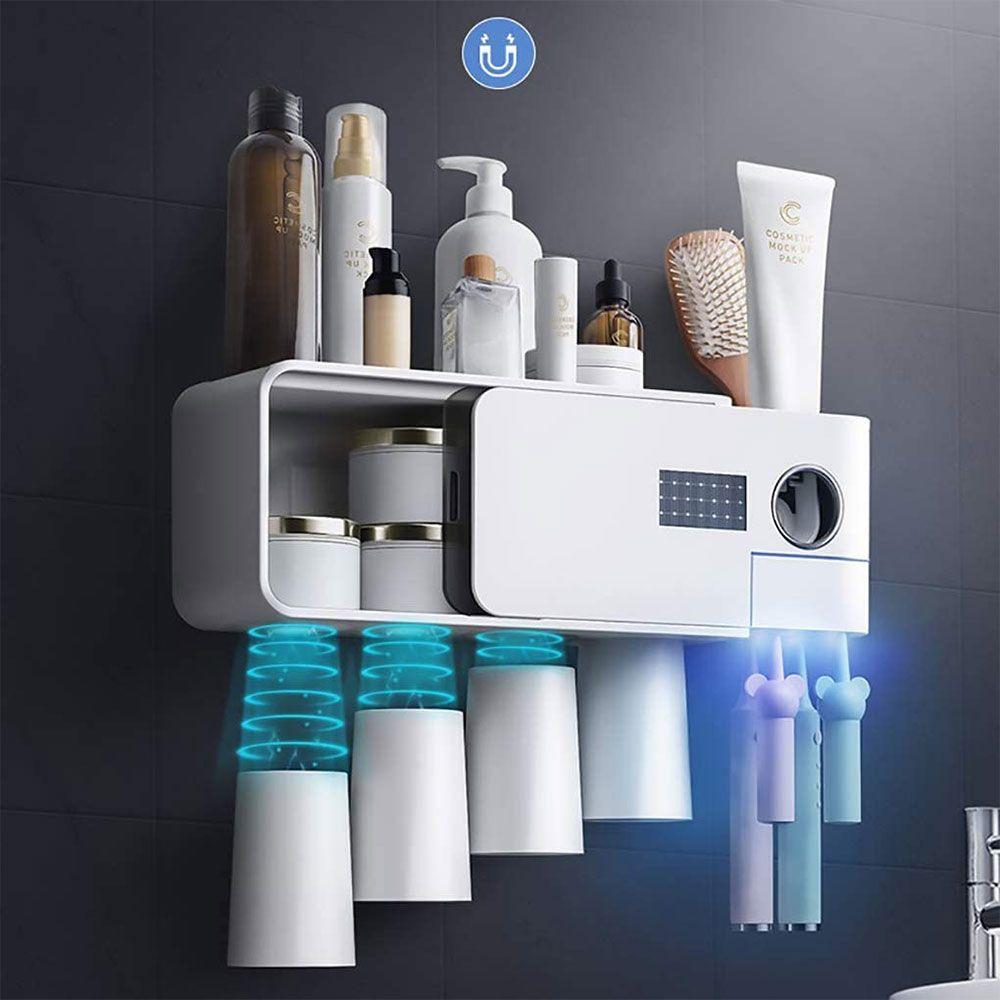 الأشعة فوق البنفسجية فرشاة الأسنان حامل، يعلق على الحائط حمام فرشاة الأسنان المطهر حامل، متعدد الوظائف فرشاة الأسنان تخزين مربع، لا الضرب التثبيت