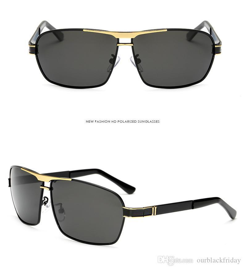 Erkekler Polarize Güneş Gözlüğü UV Güneş Metal Gözlük HD Sürüş Balıkçılık Güneş Marka Orijinal Logo Moda Gözler