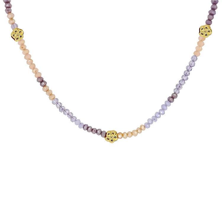 Новая мода ретро сладкий фиолетовый цветок бисер стекло камень ожерелье Цветные