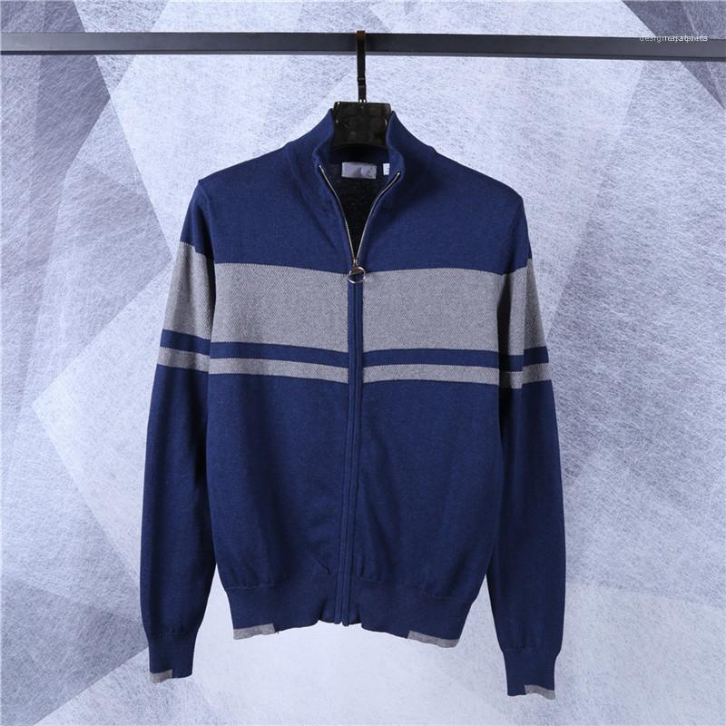 Maschi Abbigliamento Uomo Designer Maglioni Moda Stripe caldo con pannelli Mens cardigan con cerniera Maglioni Moda Zipper Fly casuale