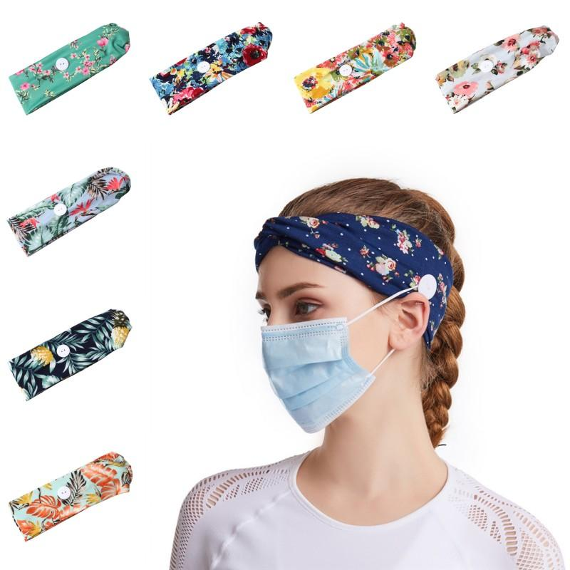DHL перевозка груза с кнопкой Заставки для групп женщин Lady волос Аксессуары для йоги Спортивные Идущие маска Holder Non скольжению Head Wrap OWF944