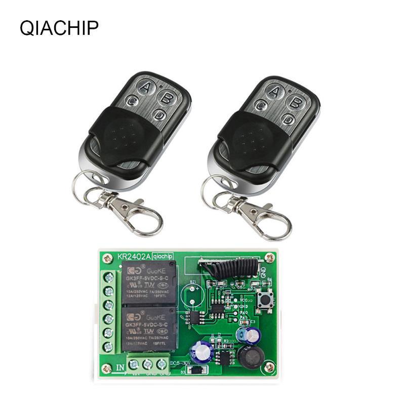 التحكم عن بعد QIACHIP 433 ميجا هرتز DC6V 12 فولت 24 فولت 2ch التتابع استقبال + التبديل التحكم اللاسلكي العالمي مصباح أدى ضوء السيارة الكهربائية