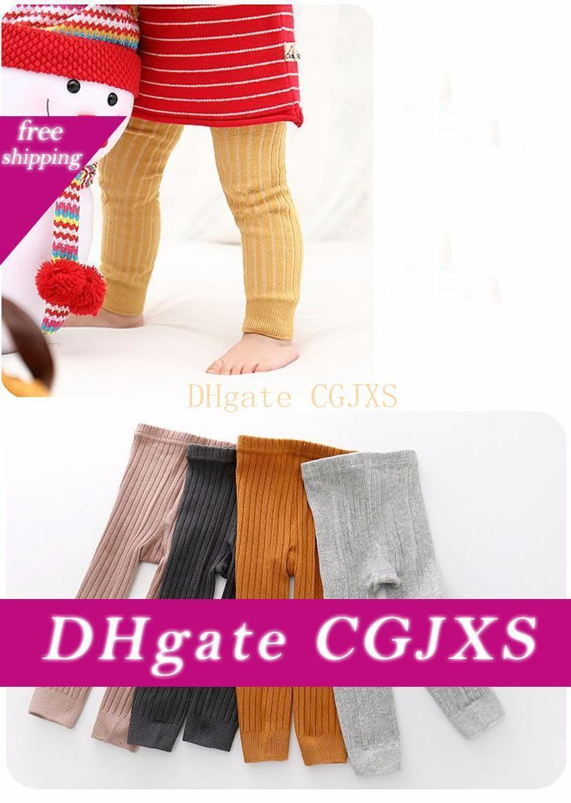 9 Color 2019 Hot -Selling Baby Girl Stretch Leggings Pants Spring And Autumn Toddler Child Knitting Trousers Pink Color L