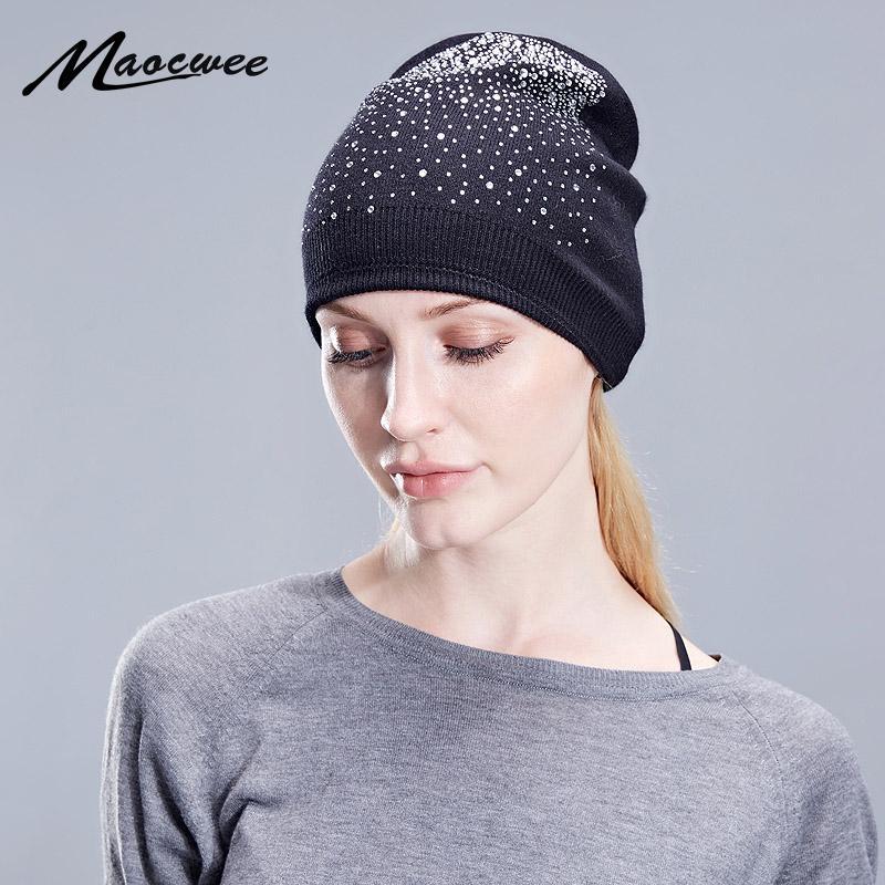 Beanie/Skull Caps Women Beanie Hat Ladies Female Luxurious Rhinestone Autumn Winter Knit Hats Skullies For Teenage Girl Diamonds Beanies