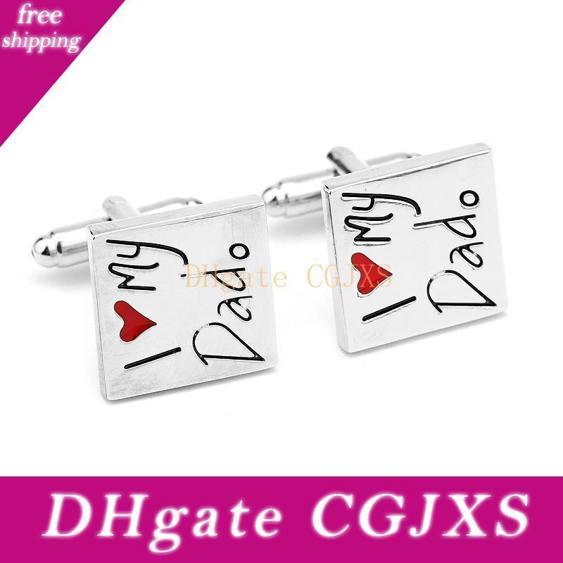 1pair Square Metal I Love My Dad Theme Cufflinks Fashion Cuff Link Suits Decor For Father Day Gifts Sleeve Button 4 5ds Z