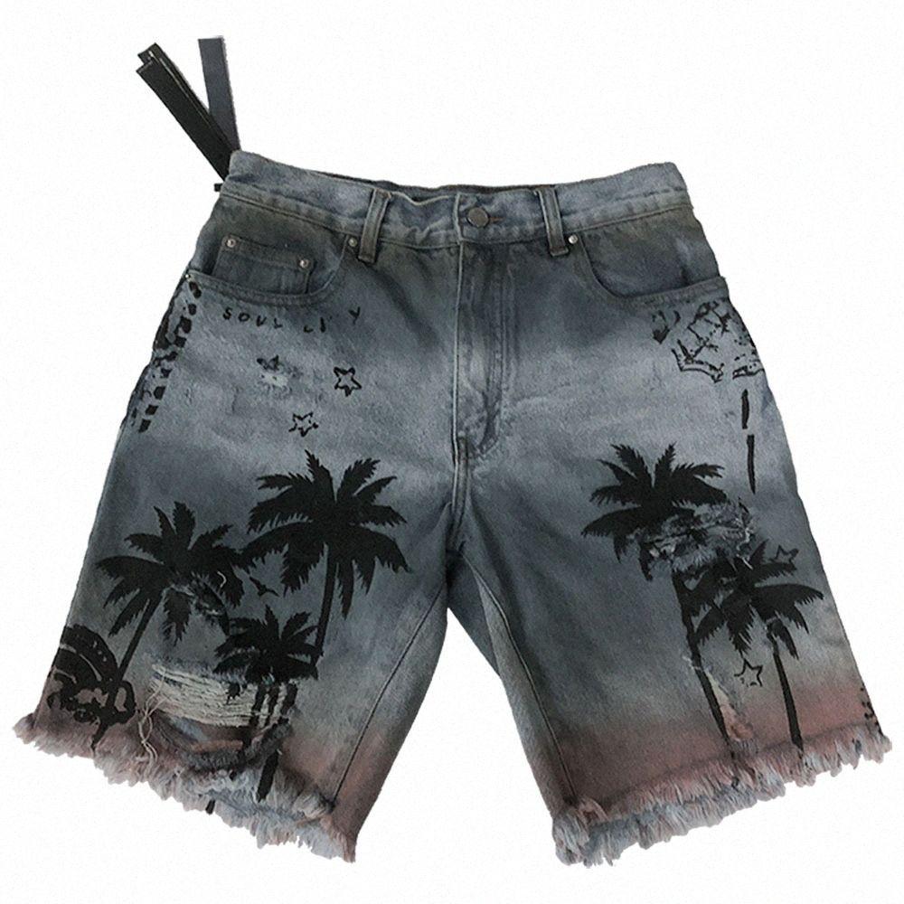 Mens Marken-Sommer-Mode Kokosnuss-Baum-Jeans Hawaii-Strand-Loch gerade Jeans lose Knielänge Male Pants RY4n #