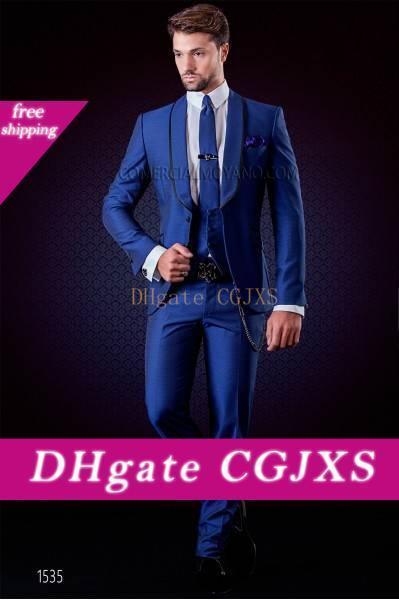 Un nuevo diseño azul del botón smokinges del novio de los padrinos de boda mejor hombre adaptan a los juegos para hombre Blazer boda (chaqueta y pantalones chaleco corbata) No: 581