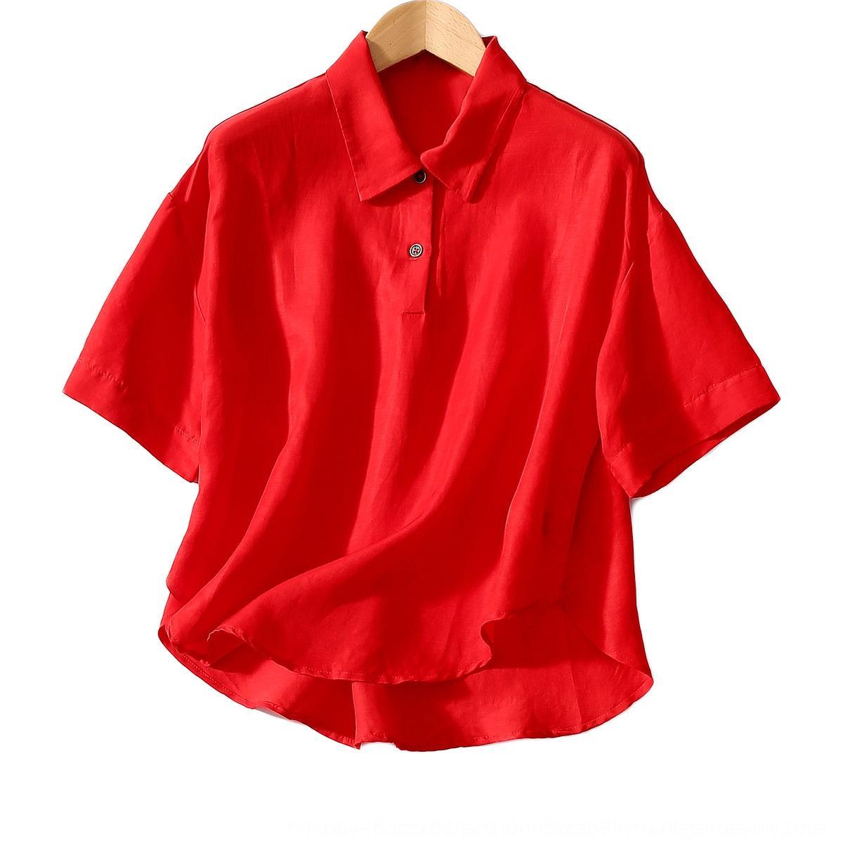 Gömlek gömlek kadınlar Nkzgn Nkzg için gevşek 2020 yaz yeni cilt dostu süper harika bakır amonyak keten kumaş sanatsal lapelshoulder kol