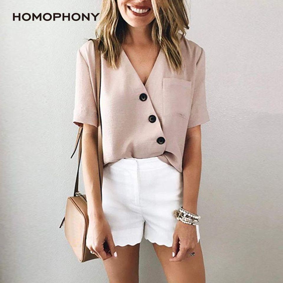 Homophonie Damen Bluse Büro-Damen plus Größen-lange Hülsen-beiläufige reizvolle V-Shirt Arbeit Bluse Outwear Tops Blusa Feminina 2020 CX200819