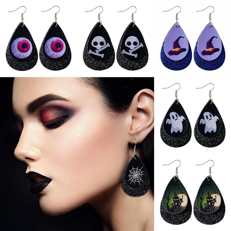 Halloween Earring Skull Water Droplet Shaped Double Layer Pu Leather Sequin Pumpkin Spidernet Ghost For Women Cool Earrings Jewelry