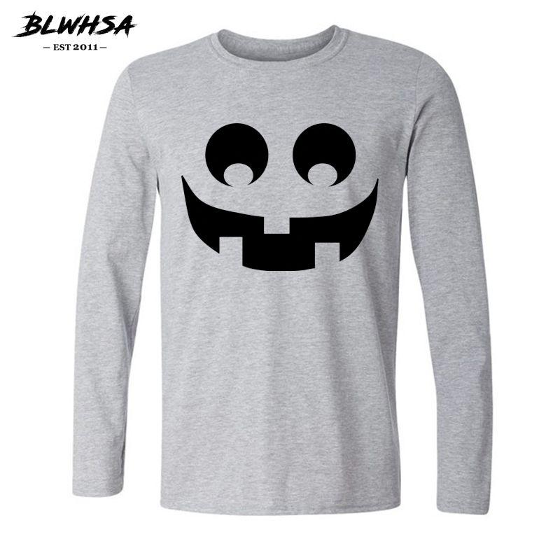 Cadılar Bayramı Erkekler Uzun Kollu Bahar için Kabak T Shirt Gülen / Sonbahar Tişört Pamuk Hip Hop Tee Gömlek başına Marka Giyim