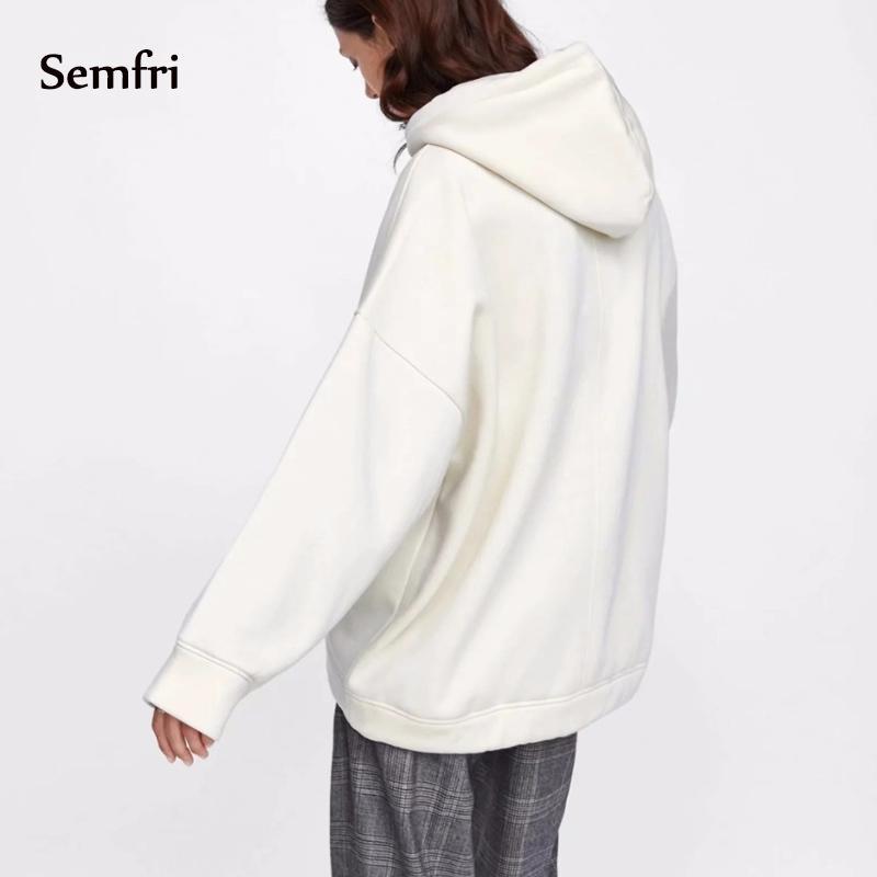 Semfri Harajuku de las mujeres ocasionales del otoño del invierno de manga larga con capucha de gran tamaño Tops Nuevo más el tamaño de la capa sudaderas con capucha 2020 MX200812
