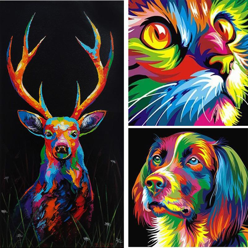 INS bricolage 5D diamant pleine peinture Carré Couleur animal Lion Cat Croix mosaïque Photo strass diamant broderie Tigre