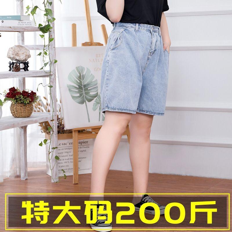 q9UhV cortos primavera JiRZP y las mujeres de talla grande y nueva verano 2020 de mezclilla plus plus 200 jin pantalones cortos de pierna ancha