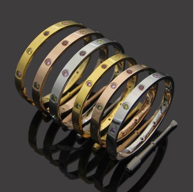 Nuovo stile colorato d'argento CZ pietra rosa 18k in acciaio inossidabile 316L bracciale bangle vite con il cacciavite