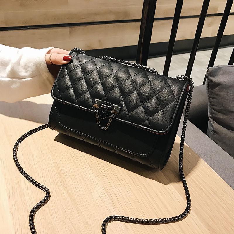 saco 2020 nova moda coreana cadeia saco da manta das mulheres versátil carteira pequena praça de um ombro Mensageiro colegial