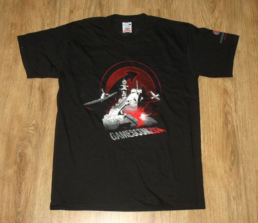 World of Tanks / aerei da guerra / Navi da guerra T-shirt Rare dal Gamescom 2014 taglia S Printed T-shirt manica corta O-Collo