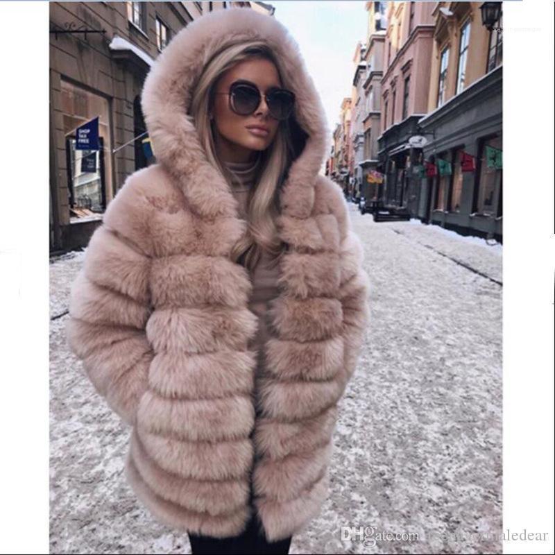Sleeved Kapşonlu Kalın Moda Tasarımcısı Kadınlar Palto Kadınlar Palto Kürk Palto Şık Lüks Gevşek Uzun