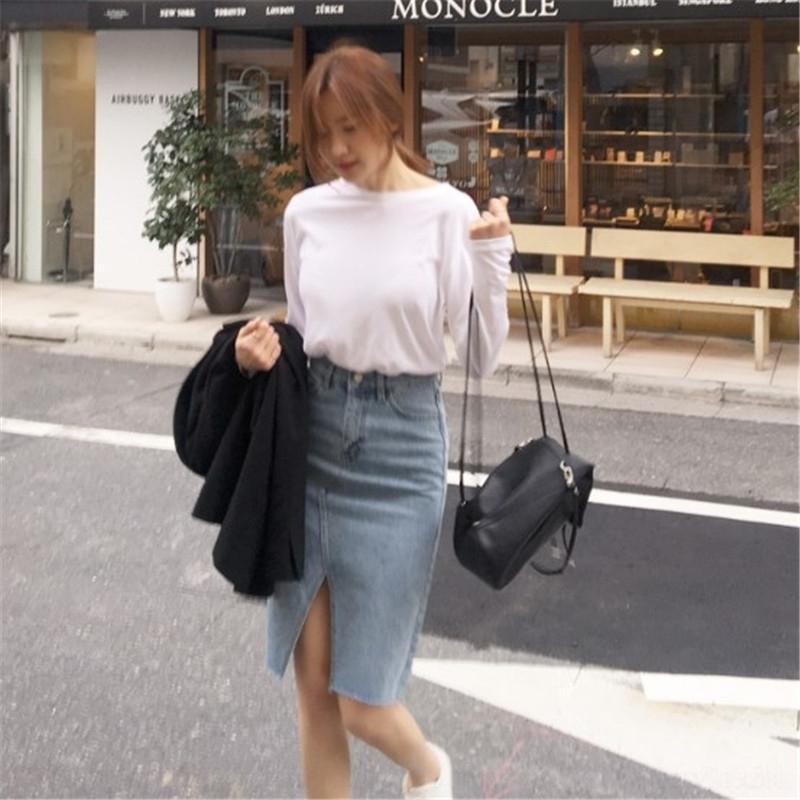gGwOH старой высокие корейские промытые талии передней джинсовой тонкий раскол светлого цвет джинсовой юбка средней юбка