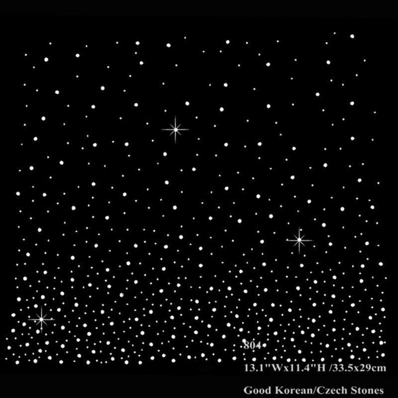 13.1 tum stjärna himmel design hotfix rhinestone värmeöverföringar järn på motiv för halsduk gardin kläder 30pcs / parti