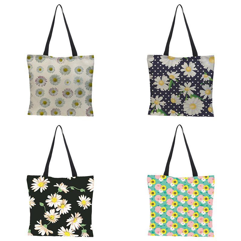 Flower Pattern Tote Bag For Women Casual Tote Foldable Portable Shopping Bag Reusable Waterproof Beach Bags