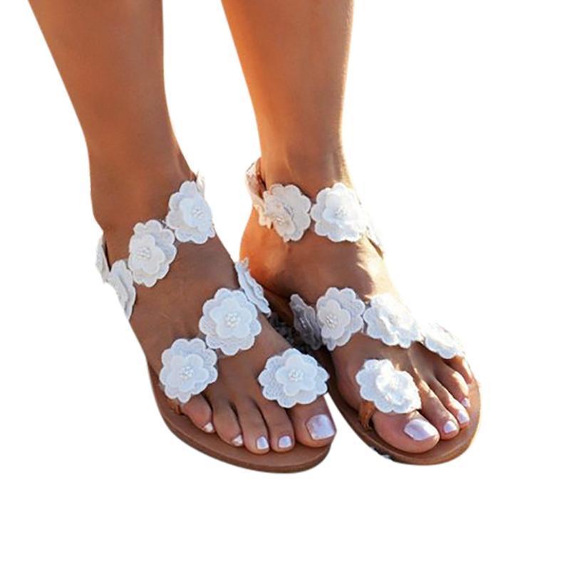 Düz ayakkabı Kadın Açık Burun Gladyatör Sandalet Roma Sandalet Kadınlar Düz Ayakkabı Yaz Plaj Çiçek Açık Burun Roma Sahil