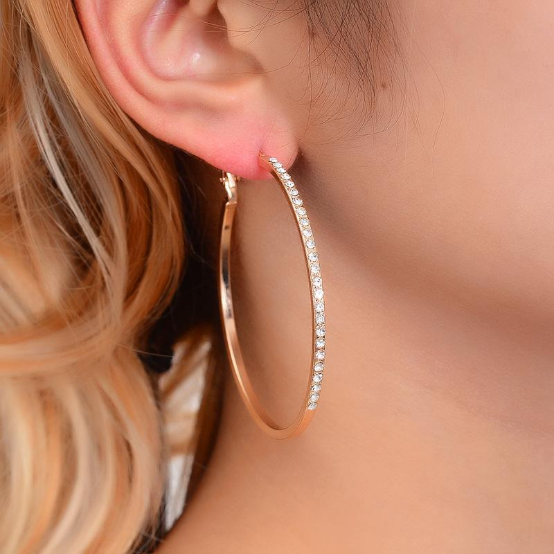 Big Size Round Crystal Hoop Earrings For Women Gold Color Party Jewelry Accessories pendientes mujer piercing ear rings