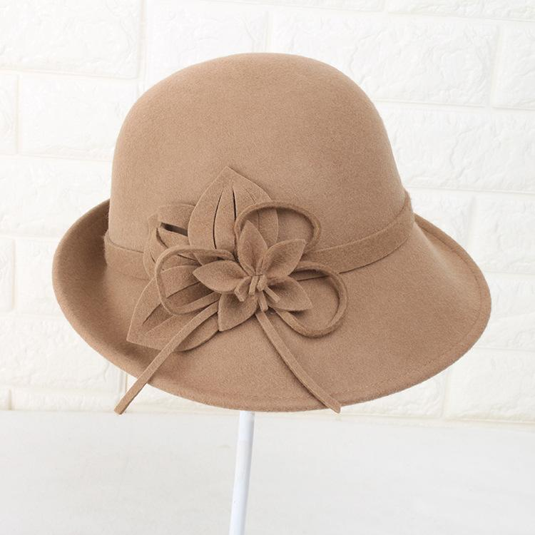 winter new fashion classics woman top hats stingy brim hat roll brim floral patch soft wool felt free shipping