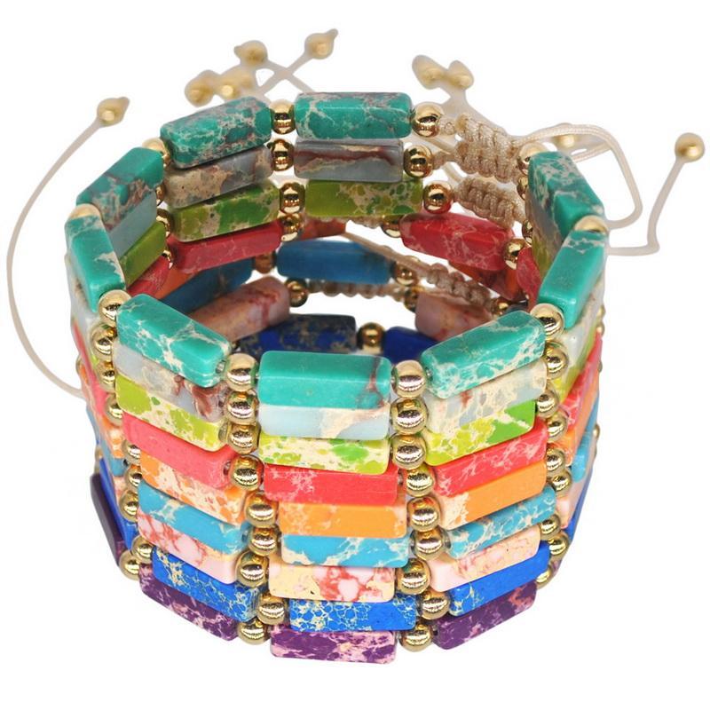 Las nuevas mujeres perlas de lava Piedra Natural pulseras cuerda ajustable Dropshipping perlas pulseras hechas a mano pulsera del abrigo Femme joyería