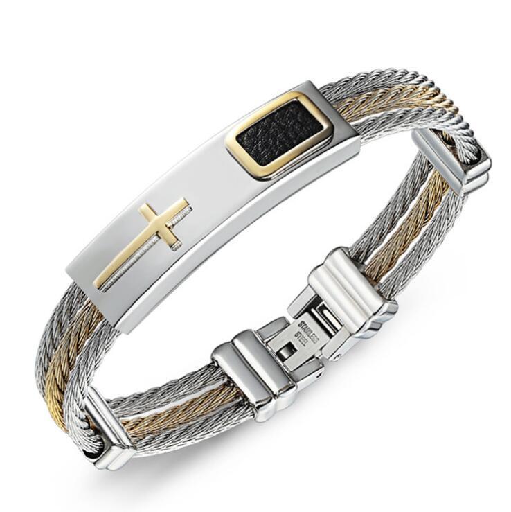 bracciali in acciaio titanio tre righe braccialetti trasversali per gli uomini caldi di modo libero di trasporto