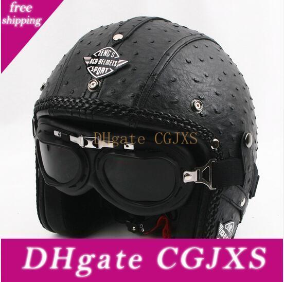 2017 Высокое качество Классическая кожа Vintage мотоциклетный шлем ручной измельчитель Мотоциклетные шлемы с Goggles Dot Approved
