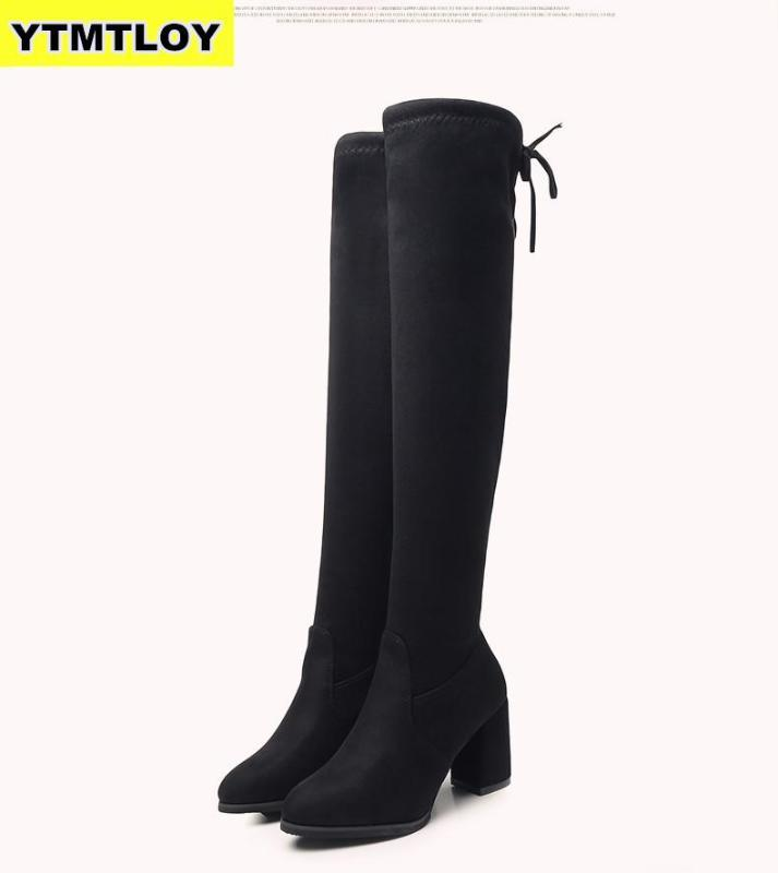 Women Casual Overknee-Stiefel Schuhe Winter weibliche runde Zehe 2020-Plattform-Absatz-Pumpen-Warm Snow Zapatos De Mujer