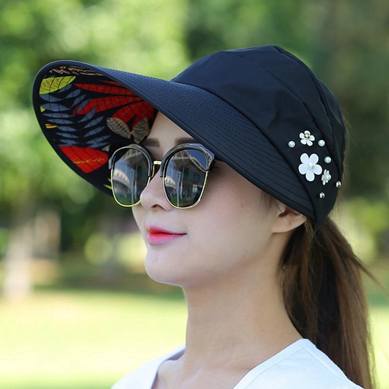 Женщины ВС Hat Summer Beach UV Travel Protection Cap дамы складной Floppy Hat Повседневный широкими полями шляпы
