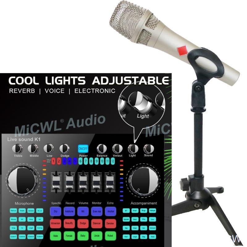 Beautiful Color Light Sound Audio Bixer Adapter Adattatore KMS105 Condensatore Tabella Microfono Live Mixing Console Bluetooth Mixer Bluetooth