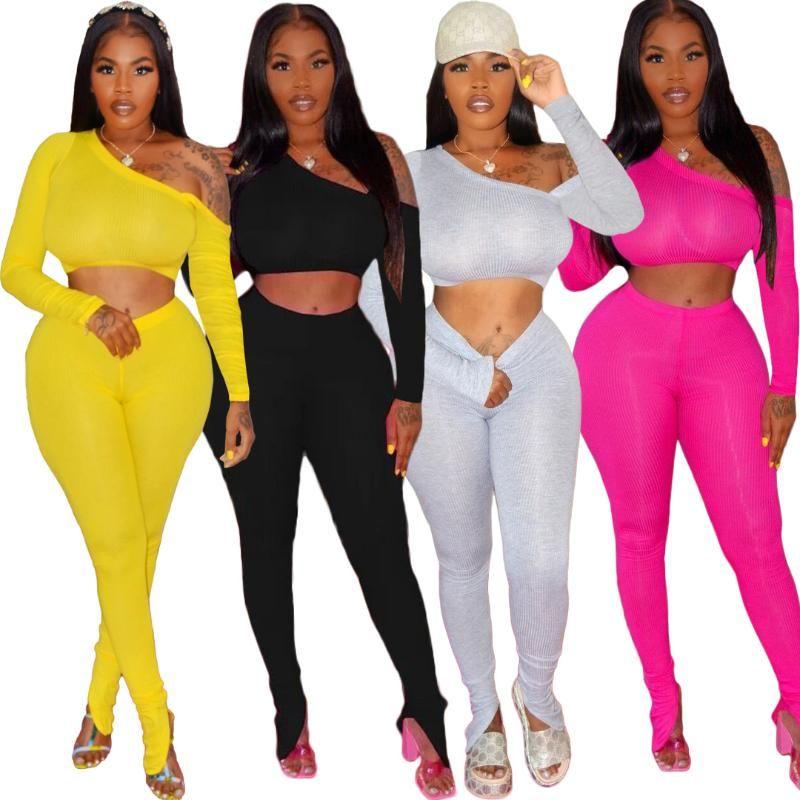 Sexy de um ombro bodycon 2 sets parte de harmonização Mulheres Sporty Casual Skinny duas partes Roupas Top Curto + calças Roupa Streetwear