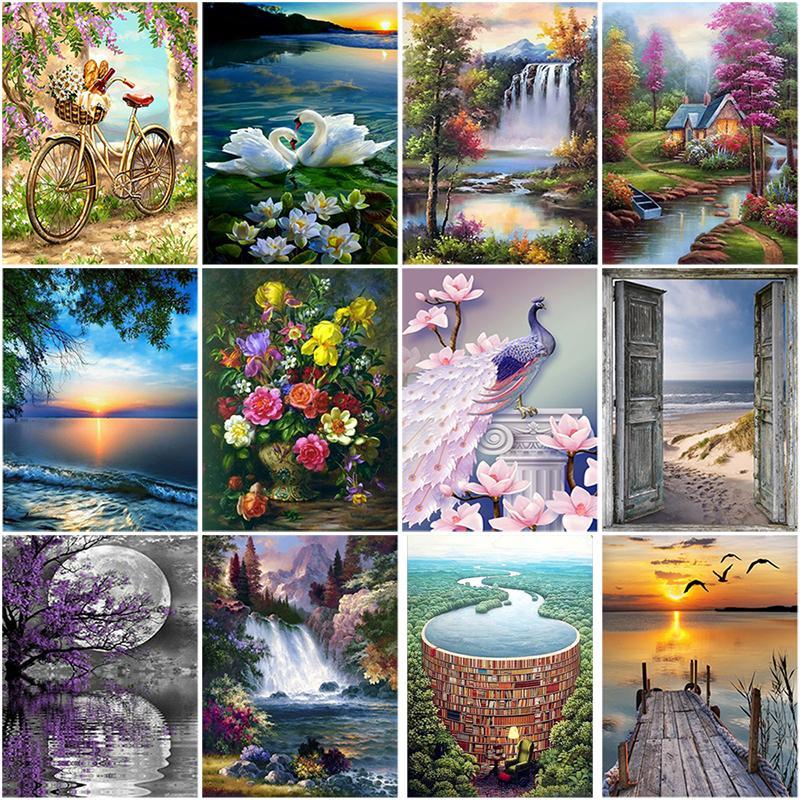 DIY 5D Diamant-Malerei-Blumen-Diamant-Stickerei-Landschaft Wasserfall-Kreuz-Stich Voll runde Mosaik-Strass-Dekor-Bohrgerät
