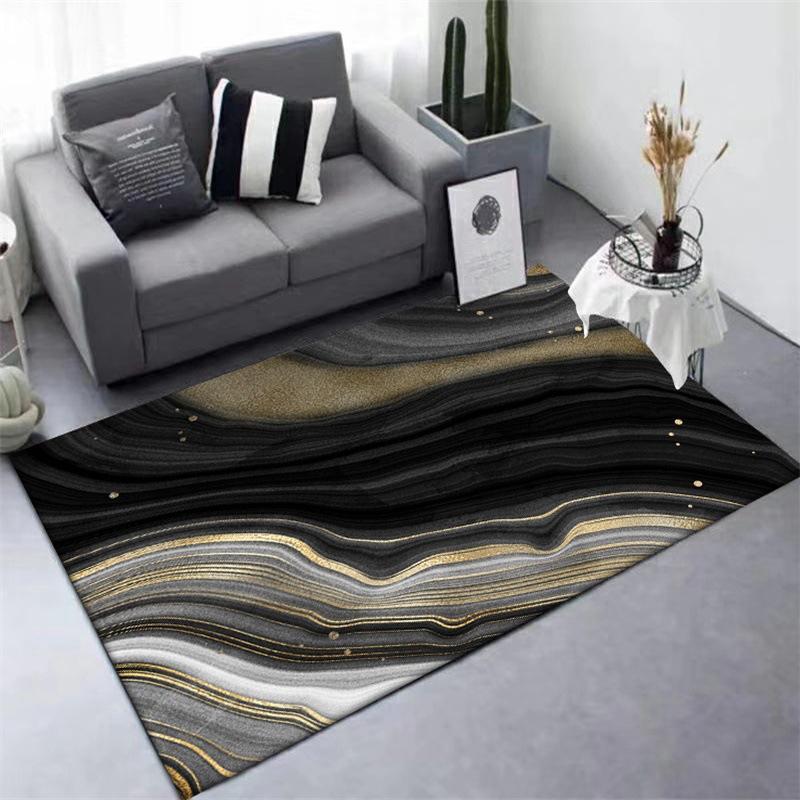 Nordic Stile Moderno Tappetino e scendiletto astratta Black Gold curva decorazione domestica Tapestry Soggiorno Camera da letto antiscivolo Mat