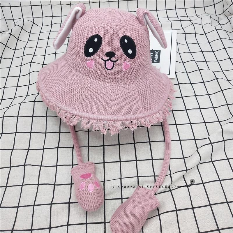 verano de xGfxB niños TikTok mismo movimiento de oreja de conejo celebridad de Internet mismo cubo lindo balde Airbag sombrero de pescador fishe airbag pizca de oído