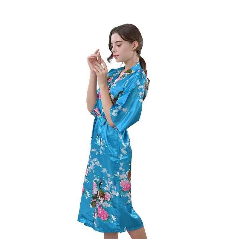 Pajama Mulheres Silk Noite Robe meia manga Night-vestido solto Casual imitado Silk Fabric Banho Ladies Home Wear CY3
