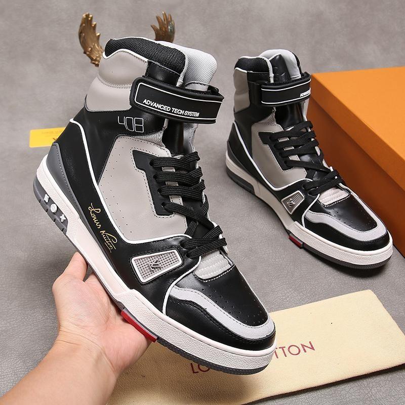 Homens sapatos respirável sapatilha mediana -Top Moda Botas Bottes Hommes Luxo Mens Fashion Shoes L22 Chaussures Pour Hommes Botas