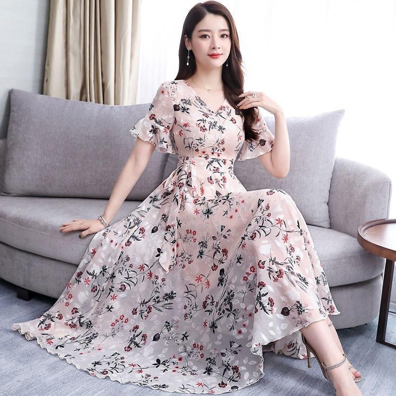Cw0L1 2020 die neue koreanische Art Sommerfrauen A- Linie Chiffon-Kleid Blumenmittellangen Kleid A- Linie