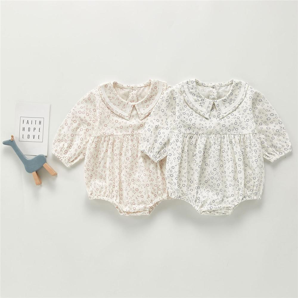 2020 Autumn Baby Newborn Bodysuit Long-Sleeve Jumpsuit Baby Girls Floral Cotton Triangle Crawling Clothes One-Piece Suit Clothes