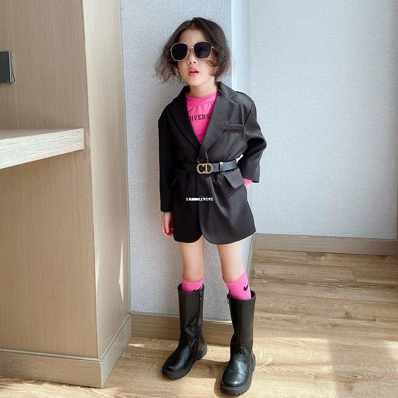 Çocuklar siyah bir takım elbise giyim çocuk yaka uzun kollu ceket ile mektup pu deri kemer kızlar dış giyim A4009
