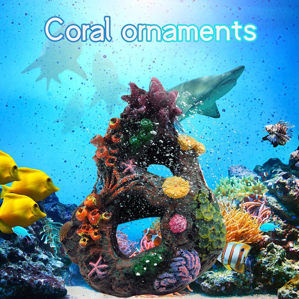 Fisch-Behälter-Harz-Felsen Aquarium Dekoration Sicherheit Verstecken spielen Coral Ornaments Mini