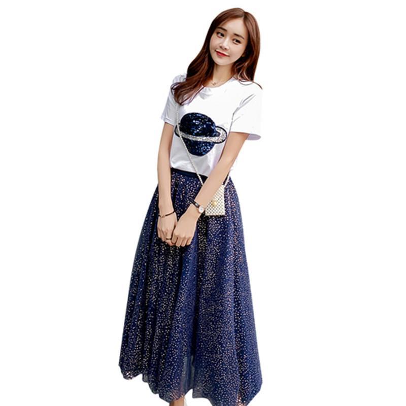 Sommerkleid 2020 Sequined Planeten T-Shirt + Nettogarn Pailletten Zweiteilige Alter mindernde Super Fee Röcke zwei-teiliges Set