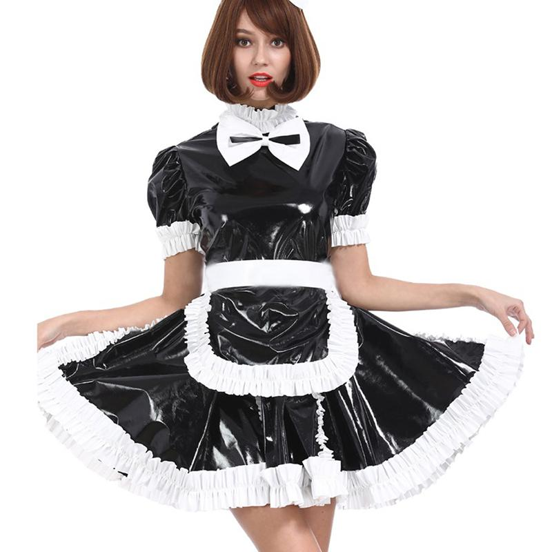 12 couleurs brillant PVC French Maid manches courtes Mini robe Sweet Ladies Lolita Robe Serveuse Cosplay Costume Uniforme Halloween
