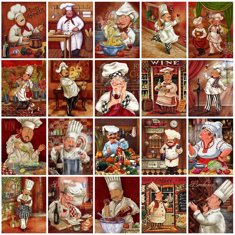 Şef Elmas Nakış Karikatür Çapraz Dikiş Mozaik Rhinestone Mutfak Ev Dekorasyon Boyama Evershine 5D DIY Elmas
