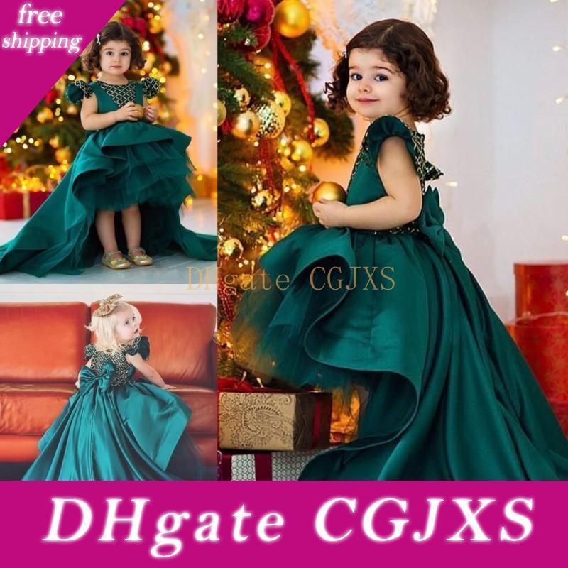 Dark Hunter Green High Low Flower Girl Dresses For Wedding Satin And Organza Girls Pageant Gowns Big Bow Sweep Train Girls Birthday Dress