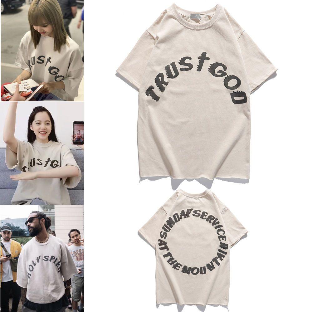 CPFM Kanye West Kanye Jesus é rei High Street FOG de mangas curtas meia gola alta homens e mulheres soltas T-shirt
