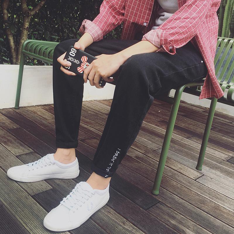 Nuovo 2020 Moda Autunno inverno casuale degli uomini ispessiscono i pantaloni caldi dei jeans di Hip Hop ricamo pantaloni Lettera magro caviglia pantaloni